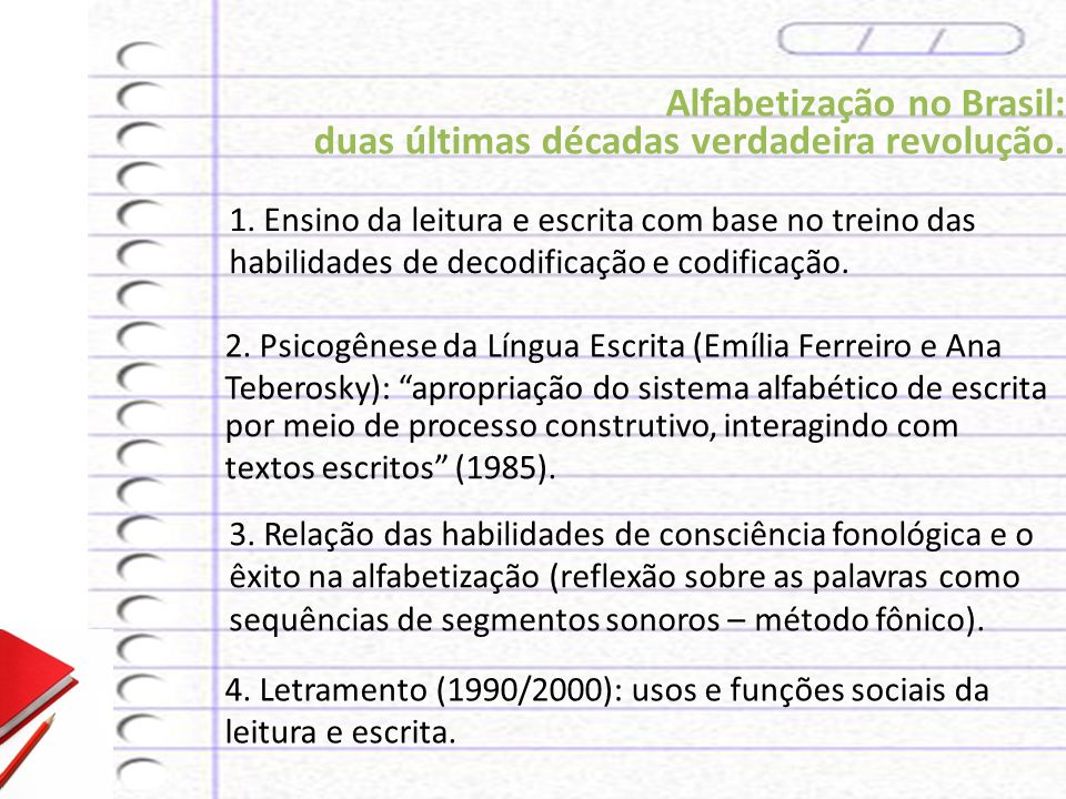 Alfabetização no Brasil: duas últimas décadas verdadeira revolução.