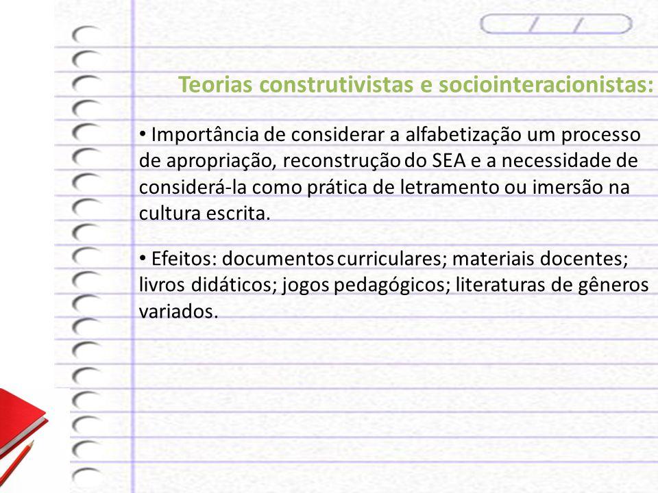 Teorias construtivistas e sociointeracionistas: