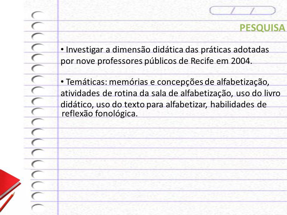 PESQUISA Investigar a dimensão didática das práticas adotadas por nove professores públicos de Recife em 2004.