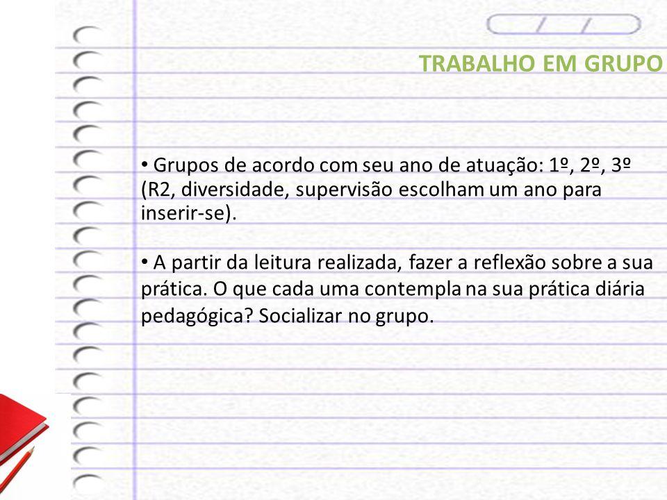 TRABALHO EM GRUPO Grupos de acordo com seu ano de atuação: 1º, 2º, 3º (R2, diversidade, supervisão escolham um ano para inserir-se).