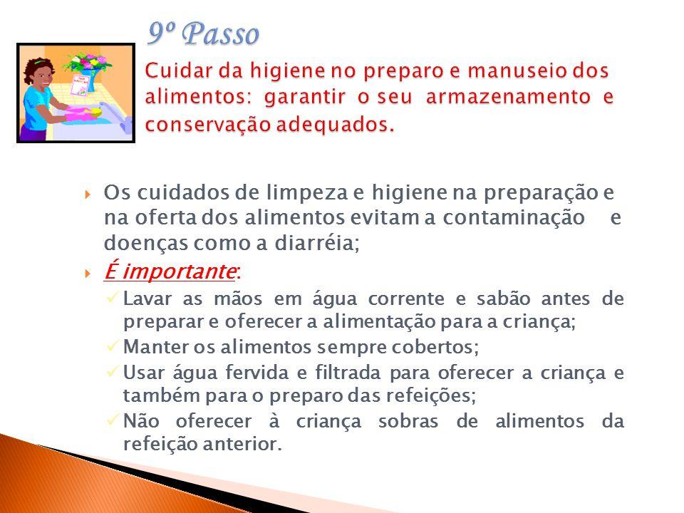 9º Passo Cuidar da higiene no preparo e manuseio dos alimentos: garantir o seu armazenamento e conservação adequados.