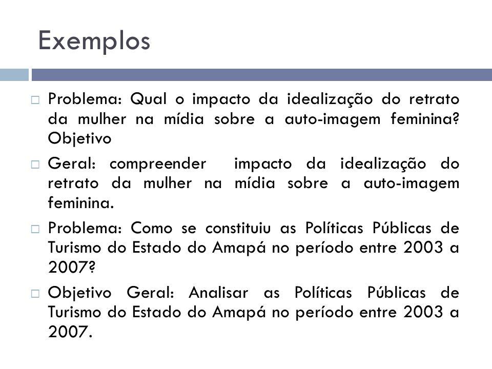 Exemplos Problema: Qual o impacto da idealização do retrato da mulher na mídia sobre a auto-imagem feminina Objetivo.