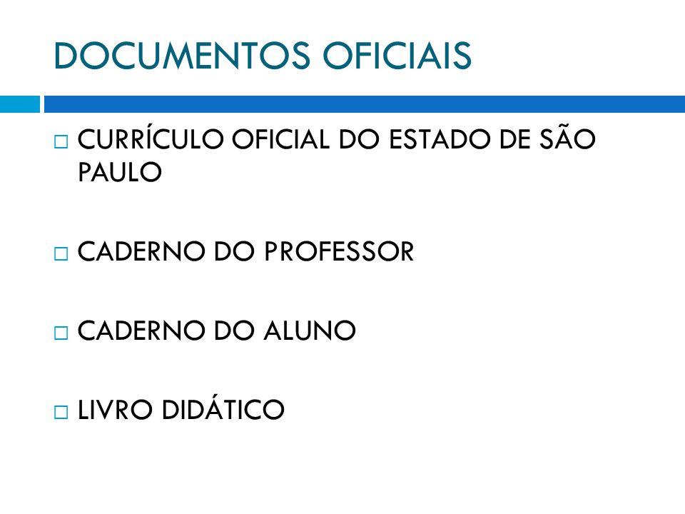 DOCUMENTOS OFICIAIS CURRÍCULO OFICIAL DO ESTADO DE SÃO PAULO