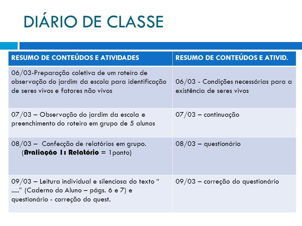 DIÁRIO DE CLASSE RESUMO DE CONTEÚDOS E ATIVIDADES