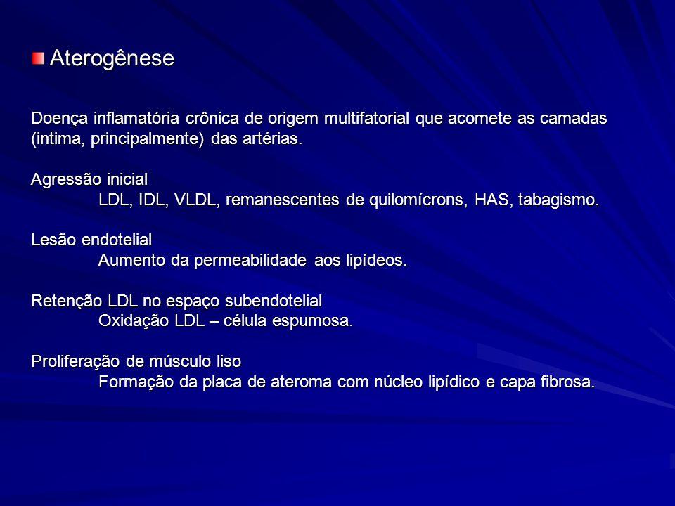 Aterogênese Doença inflamatória crônica de origem multifatorial que acomete as camadas (intima, principalmente) das artérias.