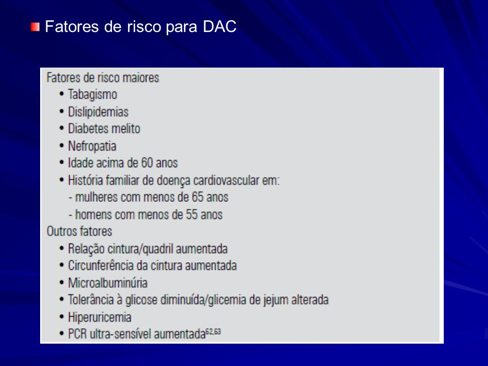 Fatores de risco para DAC