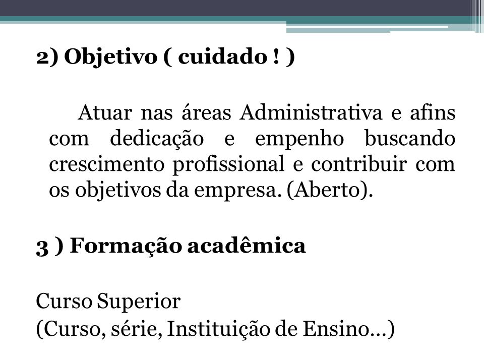 2) Objetivo ( cuidado .
