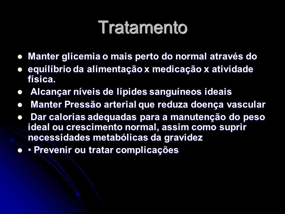 Tratamento Manter glicemia o mais perto do normal através do