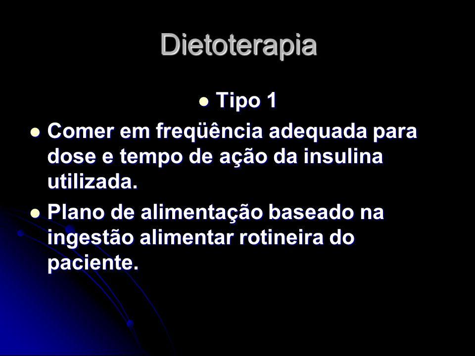 Dietoterapia Tipo 1. Comer em freqüência adequada para dose e tempo de ação da insulina utilizada.