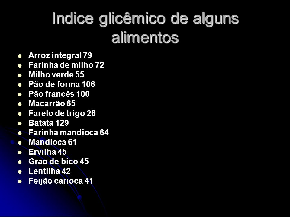 Indice glicêmico de alguns alimentos