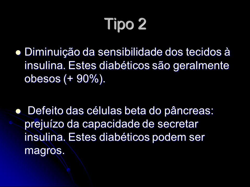 Tipo 2 Diminuição da sensibilidade dos tecidos à insulina. Estes diabéticos são geralmente obesos (+ 90%).
