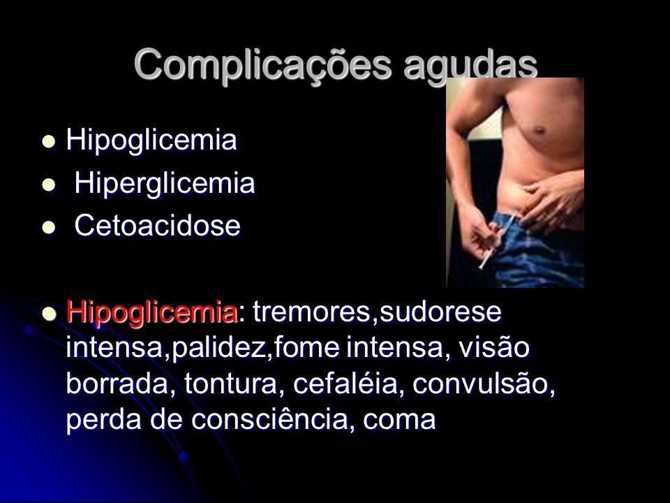 Complicações agudas Hipoglicemia Hiperglicemia Cetoacidose