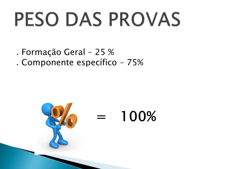 PESO DAS PROVAS . Formação Geral – 25 % . Componente específico – 75% = 100%