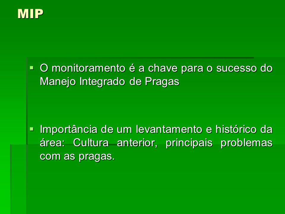 MIP O monitoramento é a chave para o sucesso do Manejo Integrado de Pragas.