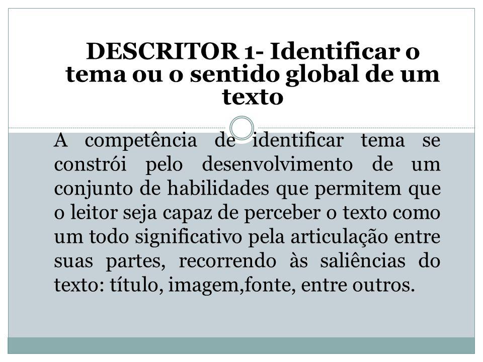 DESCRITOR 1- Identificar o tema ou o sentido global de um texto