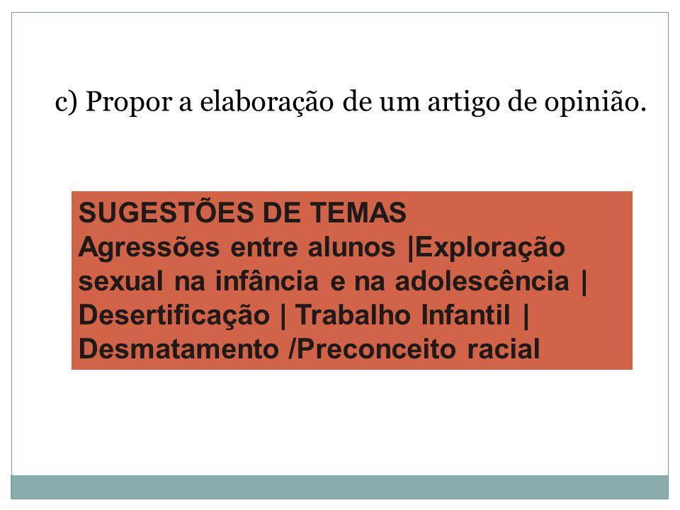 c) Propor a elaboração de um artigo de opinião.