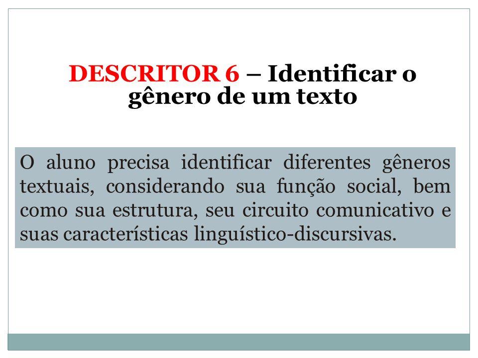 DESCRITOR 6 – Identificar o gênero de um texto