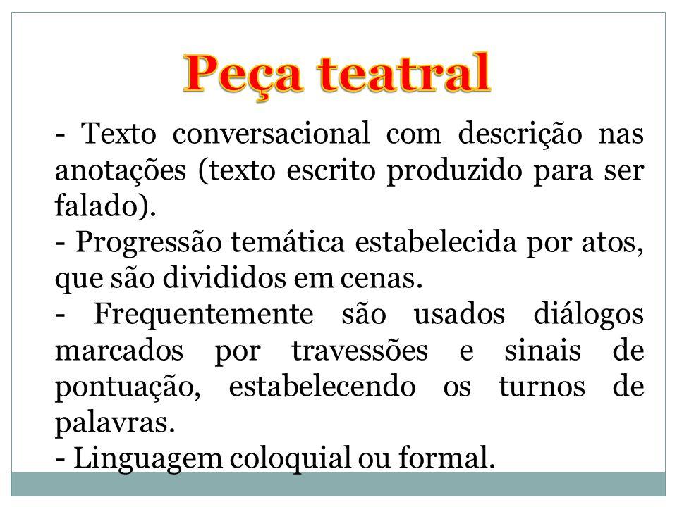 Peça teatral - Texto conversacional com descrição nas anotações (texto escrito produzido para ser falado).