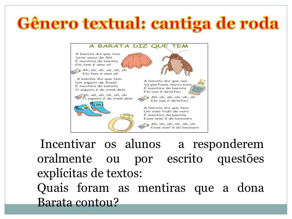 Gênero textual: cantiga de roda