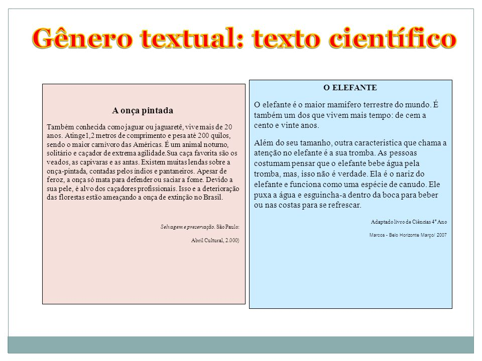 Gênero textual: texto científico