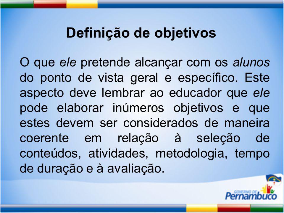 Definição de objetivos