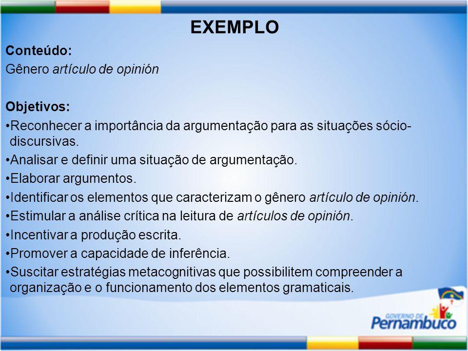 EXEMPLO Conteúdo: Gênero artículo de opinión Objetivos: