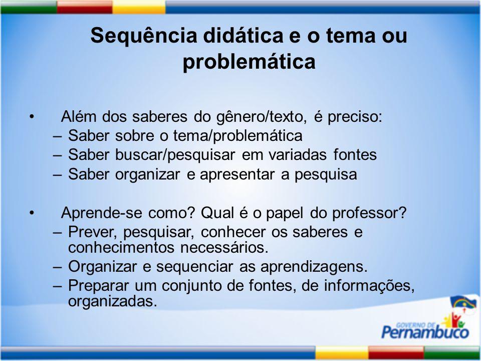 Sequência didática e o tema ou problemática