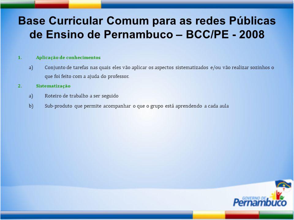 Base Curricular Comum para as redes Públicas de Ensino de Pernambuco – BCC/PE - 2008