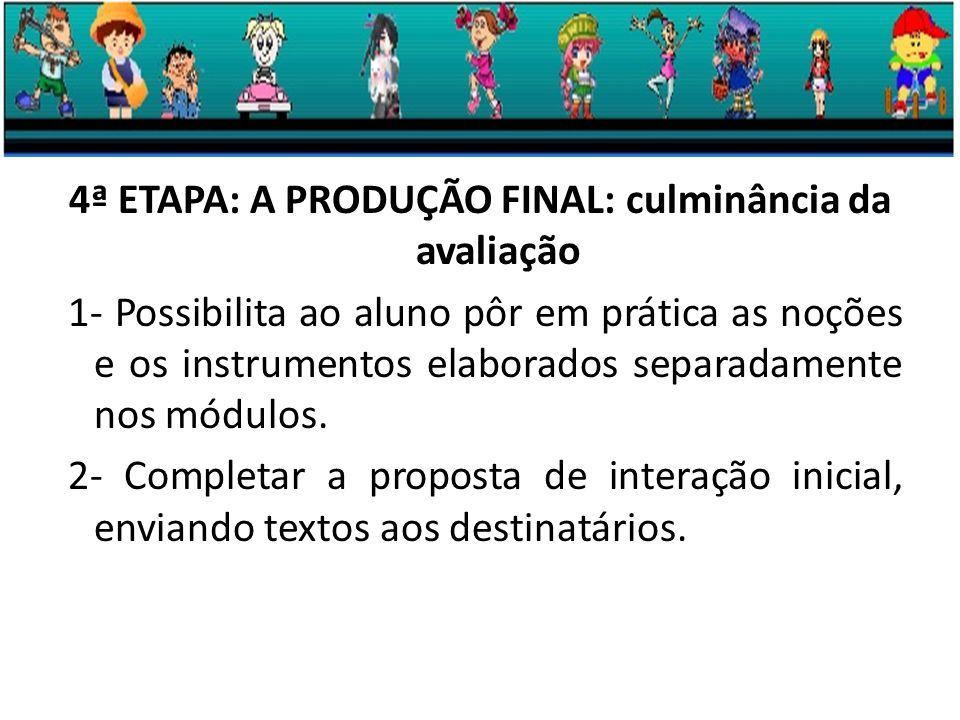 4ª ETAPA: A PRODUÇÃO FINAL: culminância da avaliação 1- Possibilita ao aluno pôr em prática as noções e os instrumentos elaborados separadamente nos módulos.