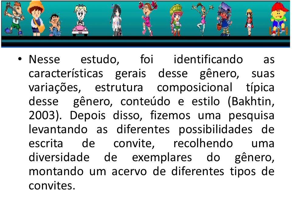 Nesse estudo, foi identificando as características gerais desse gênero, suas variações, estrutura composicional típica desse gênero, conteúdo e estilo (Bakhtin, 2003).