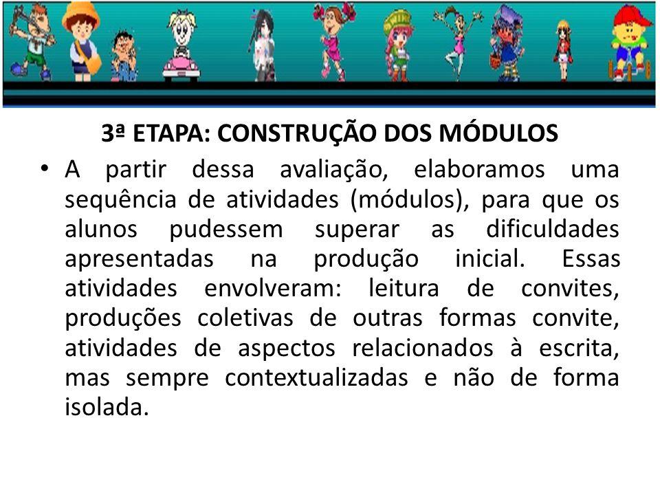 3ª ETAPA: CONSTRUÇÃO DOS MÓDULOS