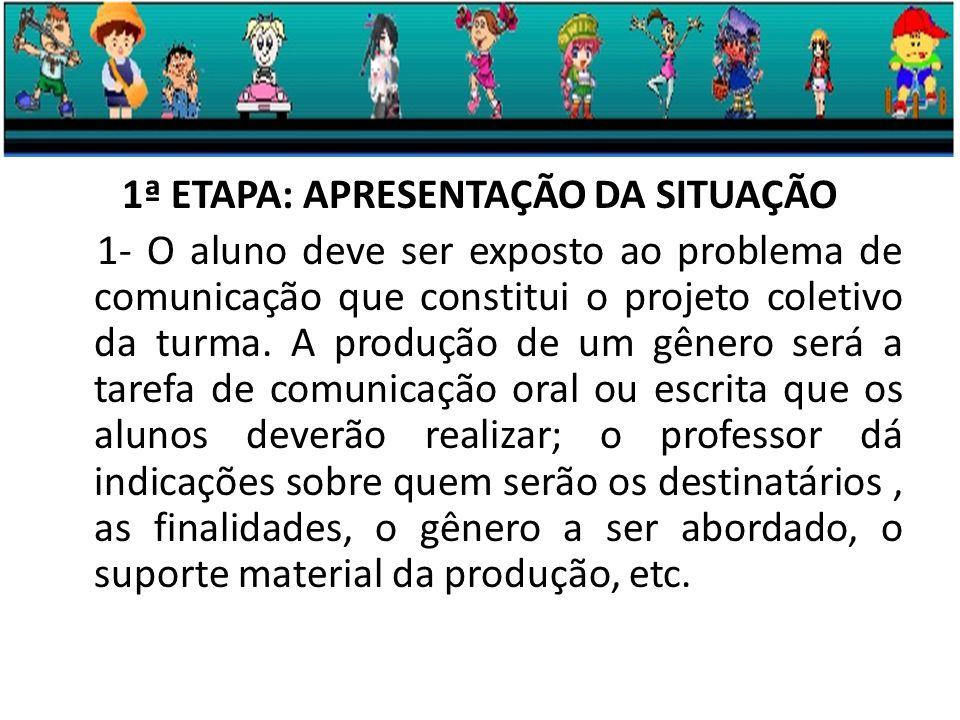 1ª ETAPA: APRESENTAÇÃO DA SITUAÇÃO 1- O aluno deve ser exposto ao problema de comunicação que constitui o projeto coletivo da turma.