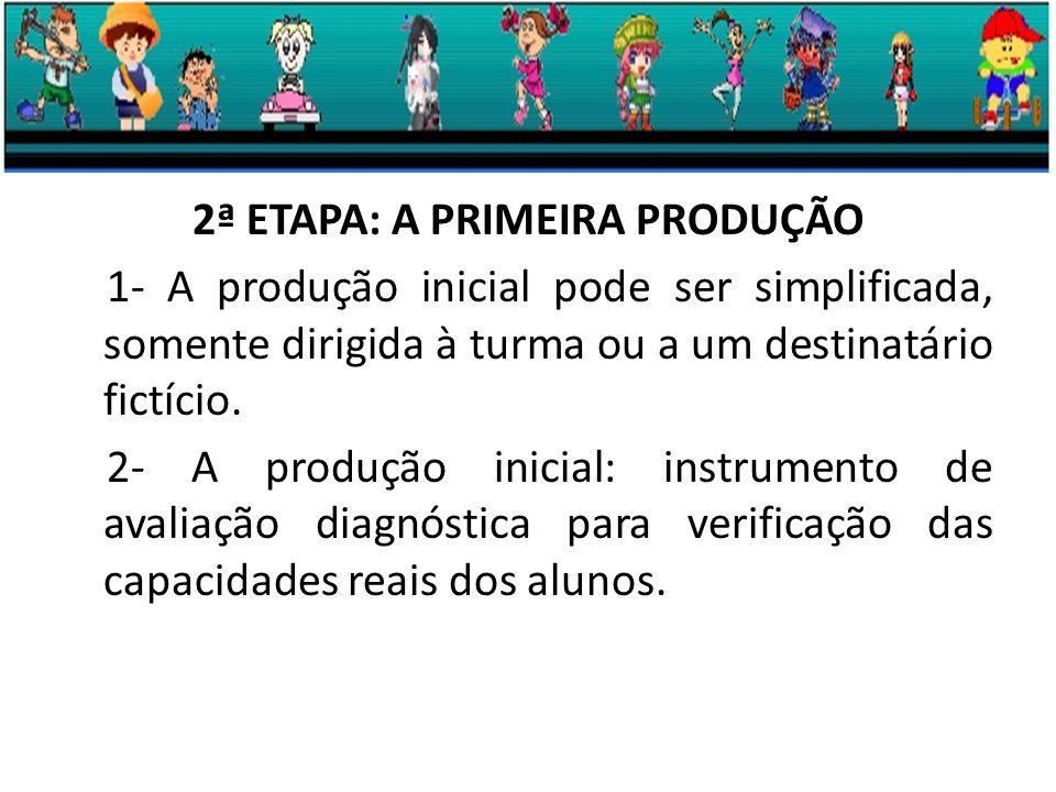 2ª ETAPA: A PRIMEIRA PRODUÇÃO 1- A produção inicial pode ser simplificada, somente dirigida à turma ou a um destinatário fictício.
