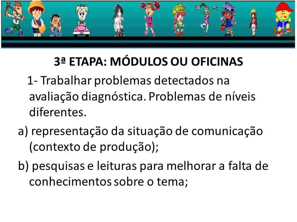 3ª ETAPA: MÓDULOS OU OFICINAS 1- Trabalhar problemas detectados na avaliação diagnóstica.