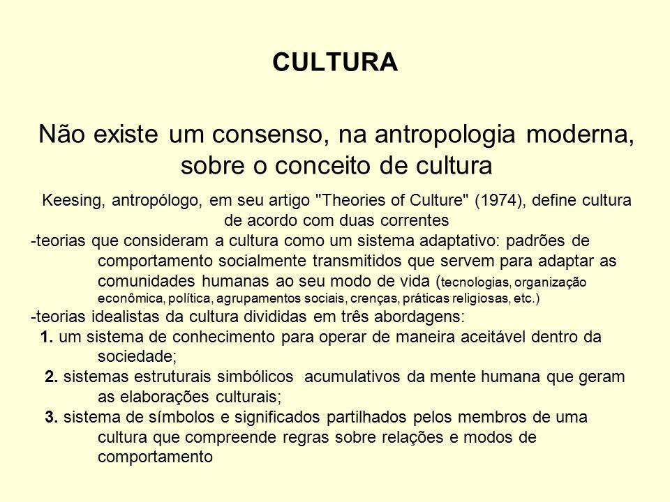 CULTURA Não existe um consenso, na antropologia moderna, sobre o conceito de cultura.