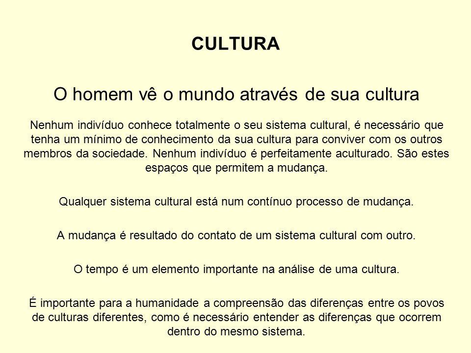 O homem vê o mundo através de sua cultura