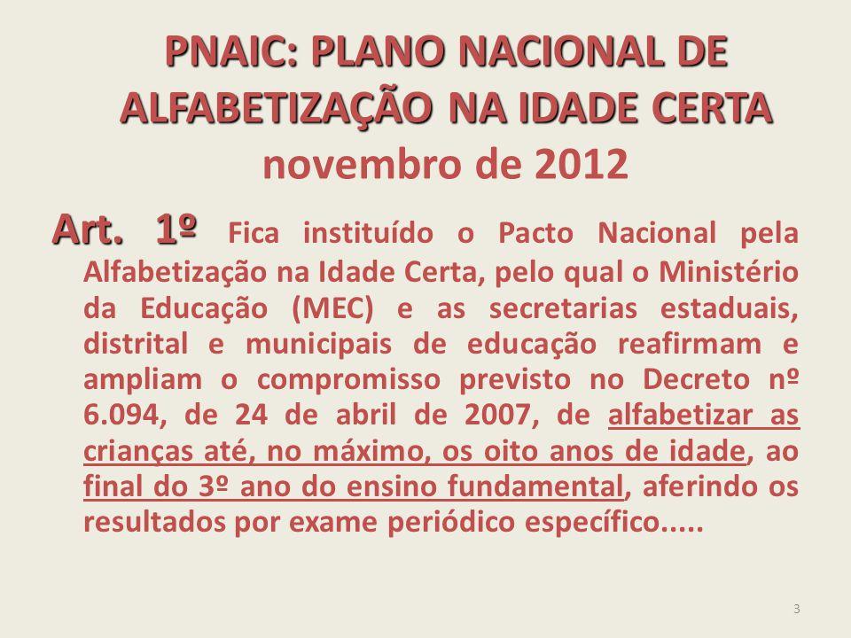 PNAIC: PLANO NACIONAL DE ALFABETIZAÇÃO NA IDADE CERTA novembro de 2012