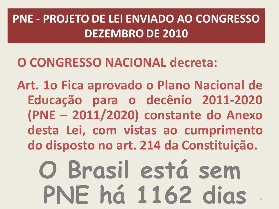 PNE - PROJETO DE LEI ENVIADO AO CONGRESSO DEZEMBRO DE 2010