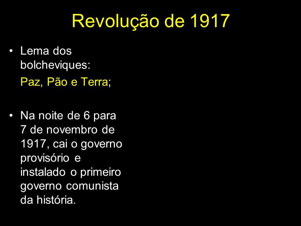 Revolução de 1917 Lema dos bolcheviques: Paz, Pão e Terra;