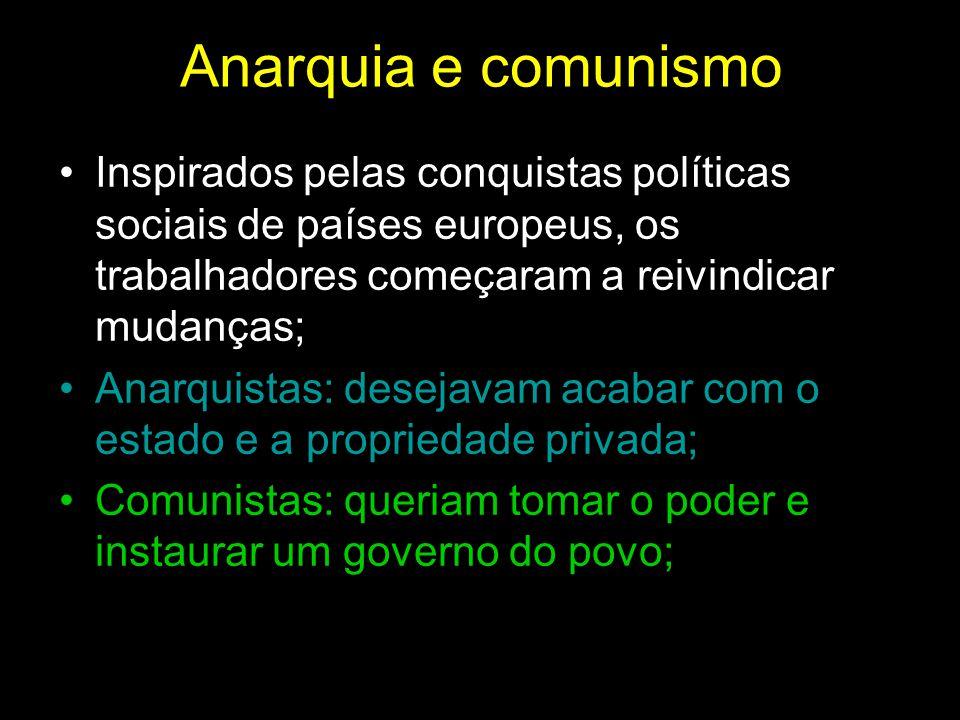 Anarquia e comunismo Inspirados pelas conquistas políticas sociais de países europeus, os trabalhadores começaram a reivindicar mudanças;