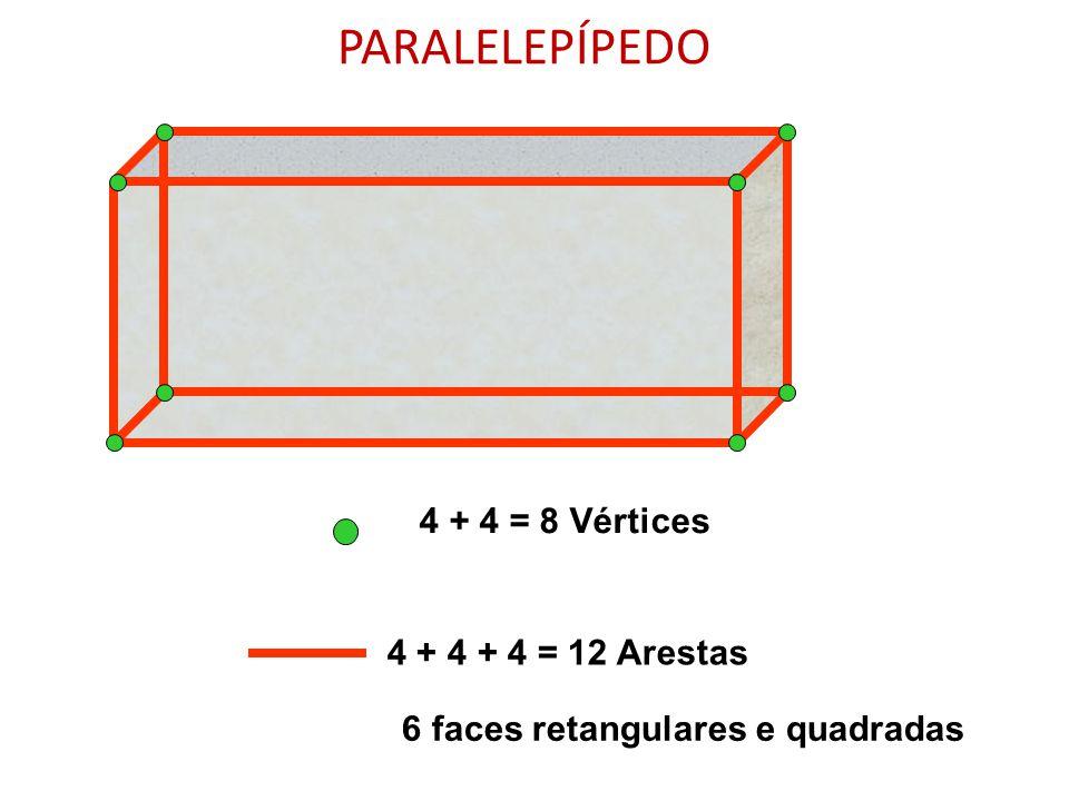 PARALELEPÍPEDO 4 + 4 = 8 Vértices 4 + 4 + 4 = 12 Arestas
