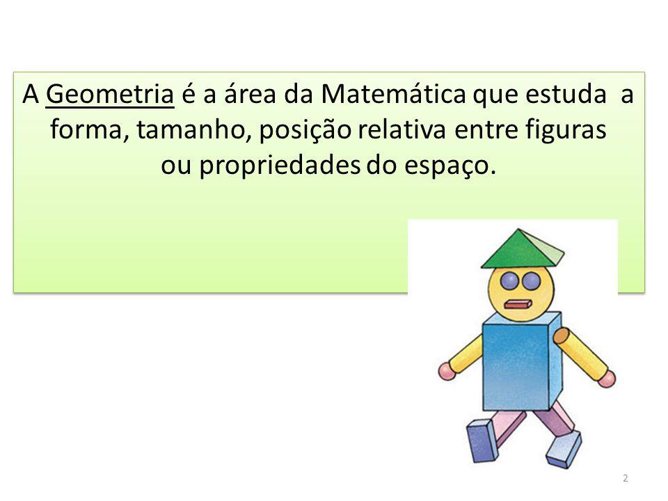 A Geometria é a área da Matemática que estuda a forma, tamanho, posição relativa entre figuras ou propriedades do espaço.