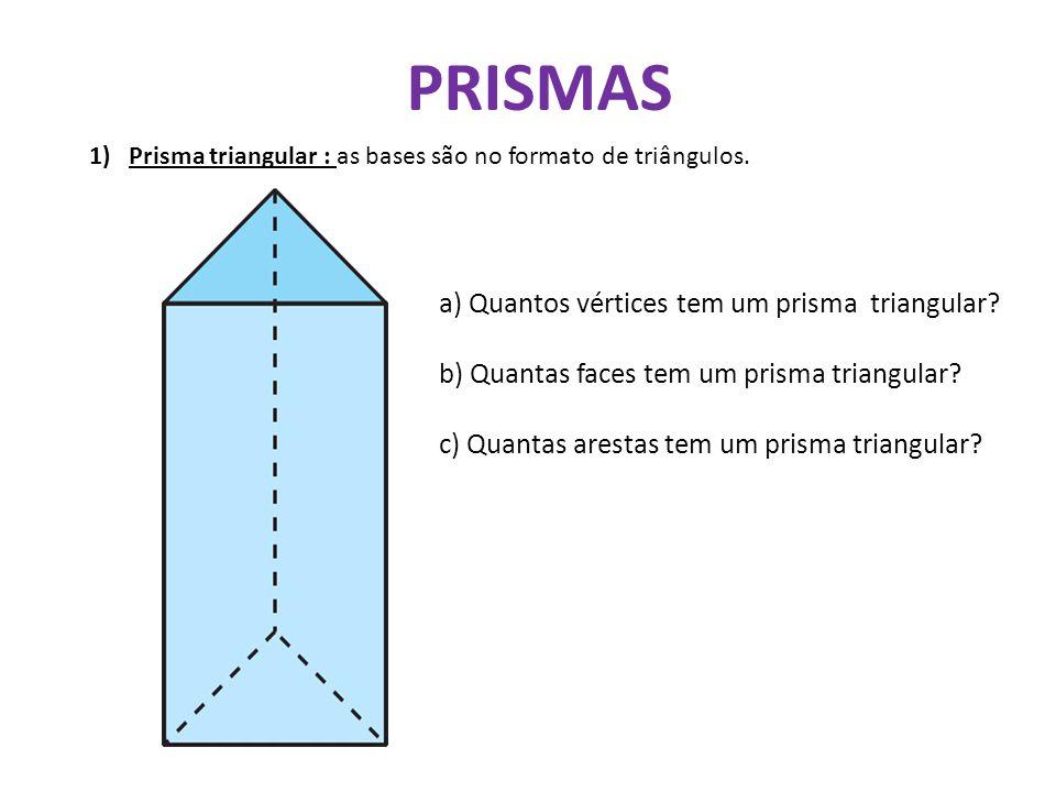 PRISMAS a) Quantos vértices tem um prisma triangular