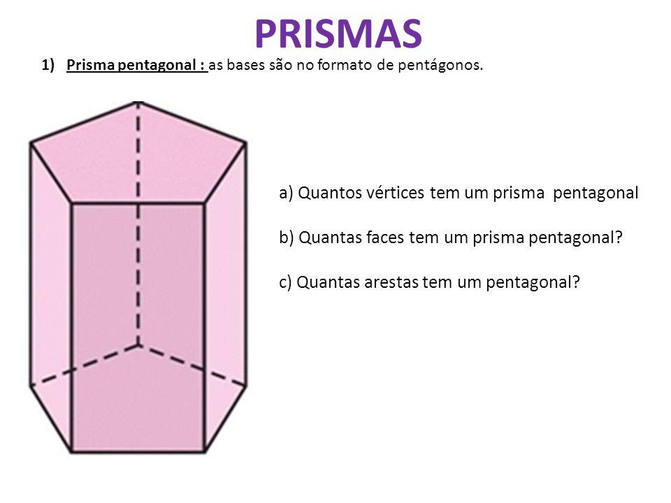 PRISMAS a) Quantos vértices tem um prisma pentagonal