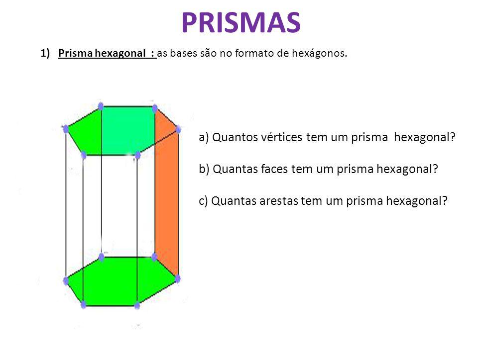 PRISMAS a) Quantos vértices tem um prisma hexagonal