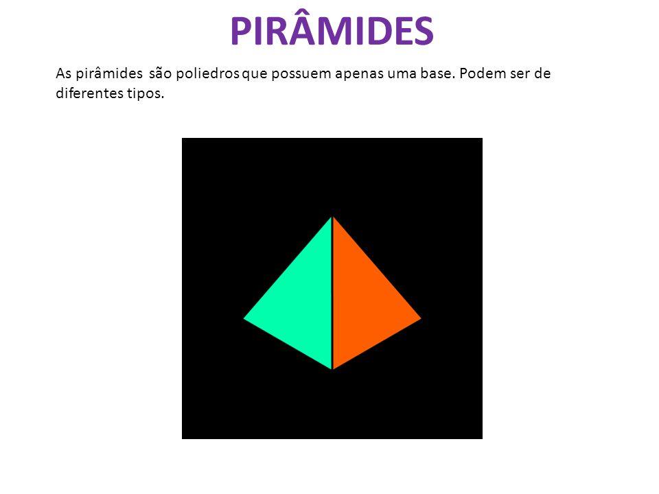 PIRÂMIDES As pirâmides são poliedros que possuem apenas uma base. Podem ser de diferentes tipos.
