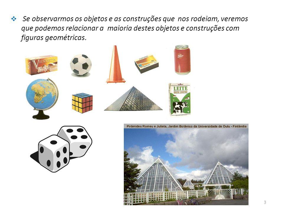 Se observarmos os objetos e as construções que nos rodeiam, veremos que podemos relacionar a maioria destes objetos e construções com figuras geométricas.