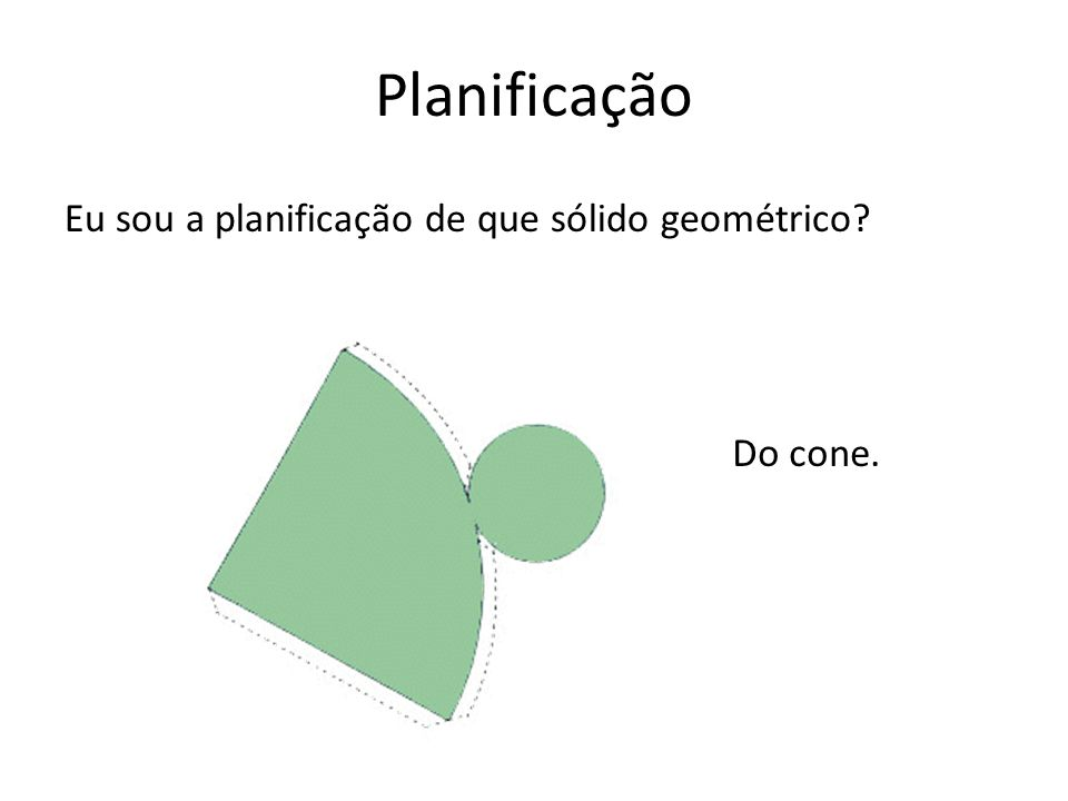 Planificação Eu sou a planificação de que sólido geométrico Do cone.