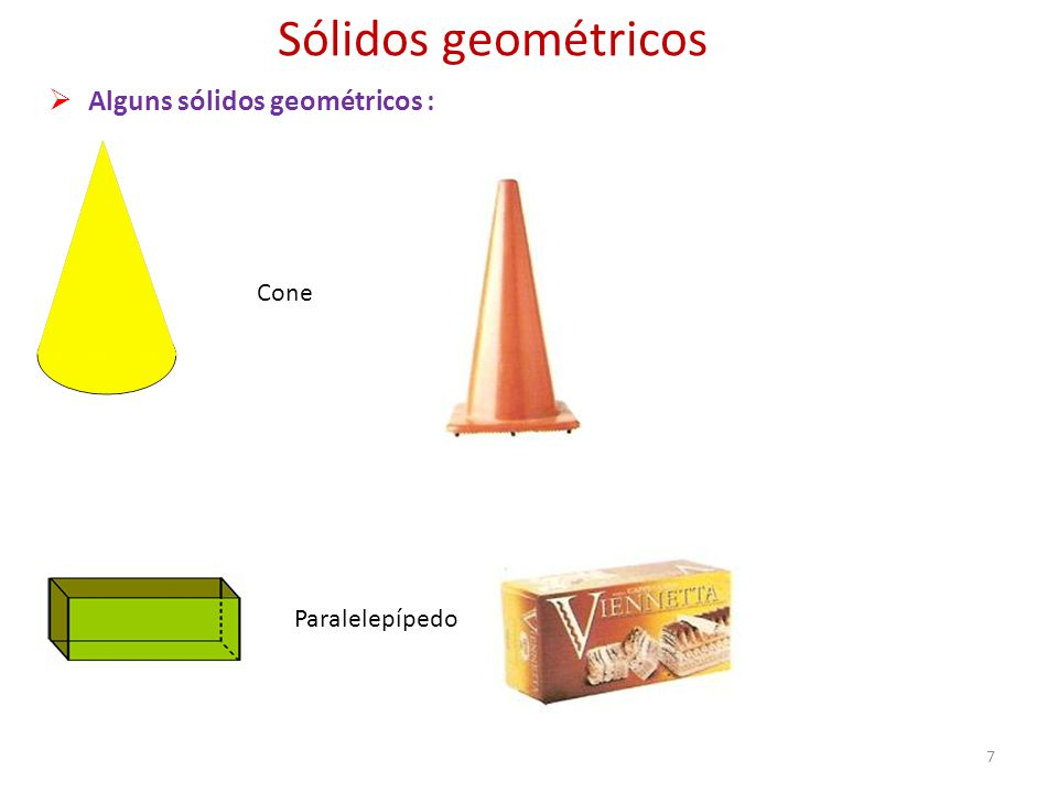 Sólidos geométricos Alguns sólidos geométricos : Cone Paralelepípedo