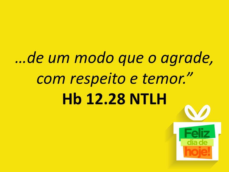 …de um modo que o agrade, com respeito e temor. Hb 12.28 NTLH
